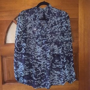 Floral print sheer blouse with tie front